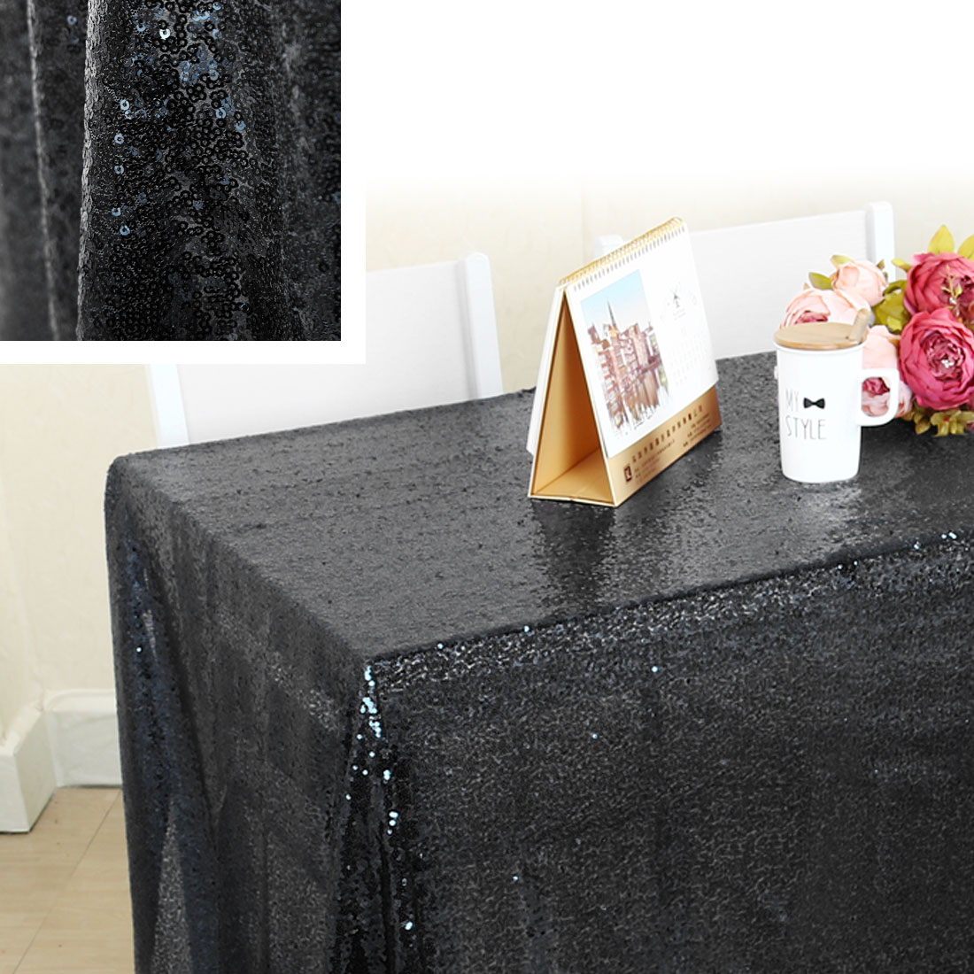 Sequin Tablecloth Polyester Rectangle Water Oil Stain Resistant Silver Tone - image 1 of 8 ... & Sparkle Sequin Tablecloth Table Cloth Cover 47\