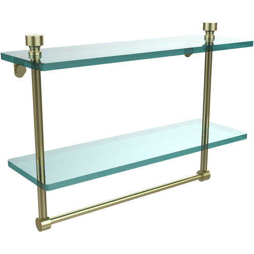 """Foxtrot Collection 16"""" 2-Tiered Glass Shelf with Integrated Towel Bar (Build to Order)"""
