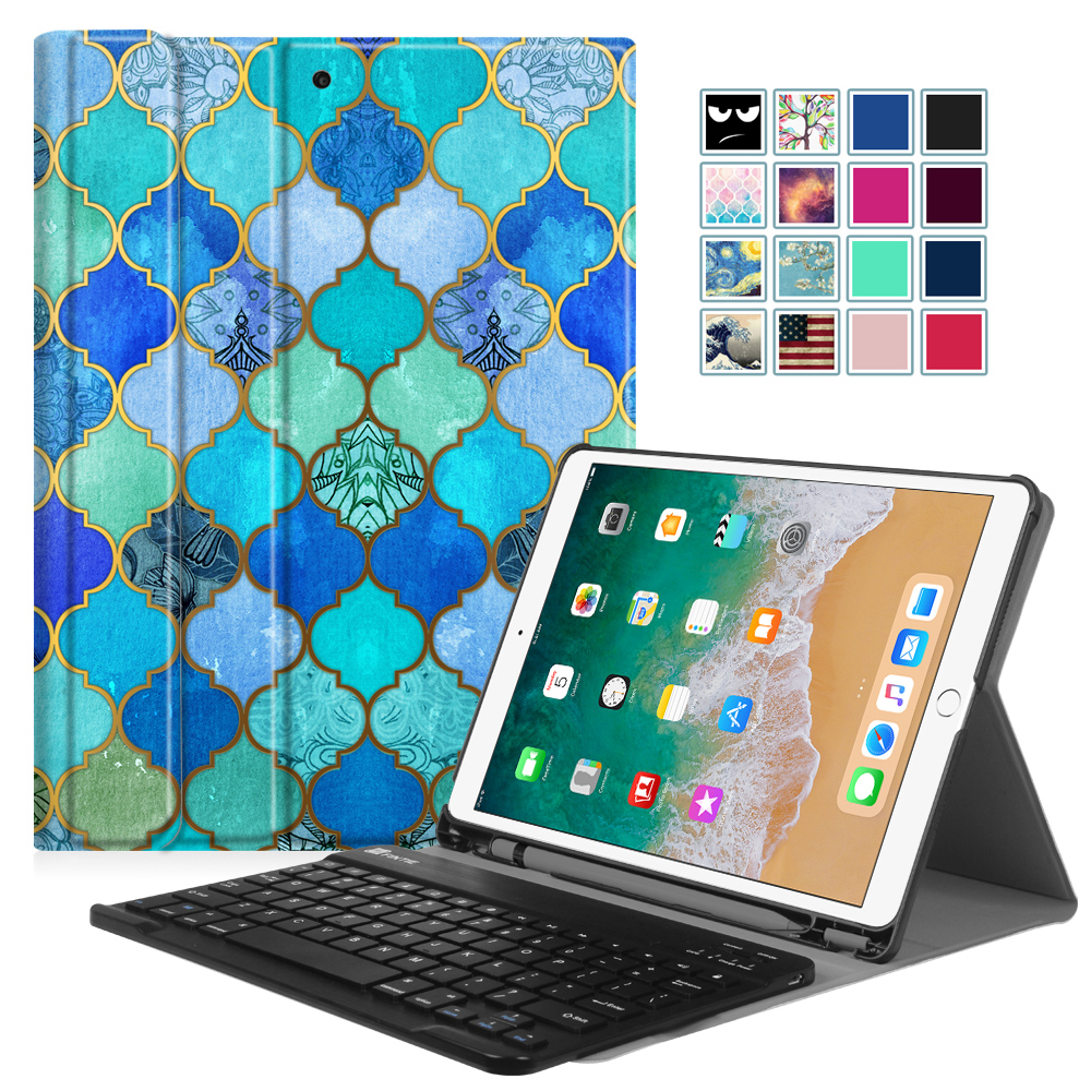 Fintie New iPad Pro 10.5 Inch 2017 Keyboard Case Cover with Built-in Apple Pencil Holder, Cool Jade