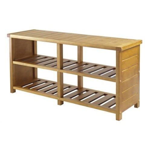 Luxury Home Keystone Tan Wood 2-shelf Shoe Bench