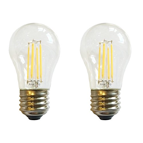 Anyray (2)-Pack LED Filament A15 (40-Watts Equivalent) Appliance Freezer Refrigerator Light Bulb E26