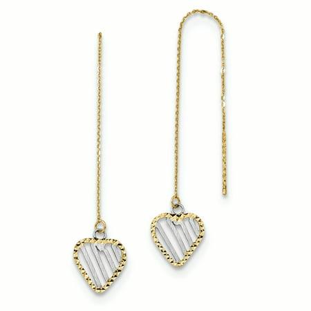 14K White And Yellow Gold 9 MM Satin and Diamond-cut Heart Threader Earrings, 45 MM 14k Gold Threader Earrings
