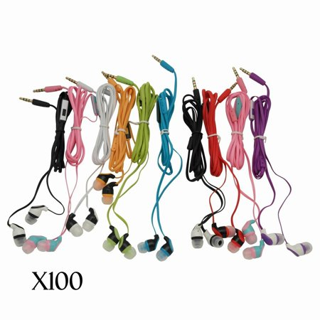 JustJamz Kidz 2.0 Color Call with Mic Stereo Earbud Headphones Mixed Colors - 100 Pack