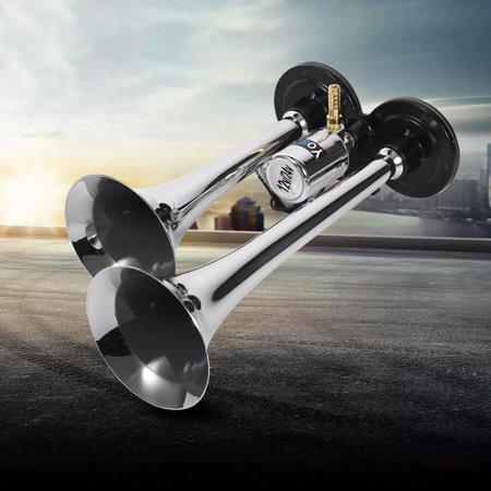 Dual Trumpet Air Horn Chrome,150DB Super Loud for Truck Lorry Boat Train Air Horn Instruments