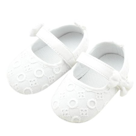 White Bowknot Dot Newborn Baby Girl Lace Shoes Toddler Prewalker Anti-slip Shoe Simple Baby Shoes Mother & Kids First Walkers