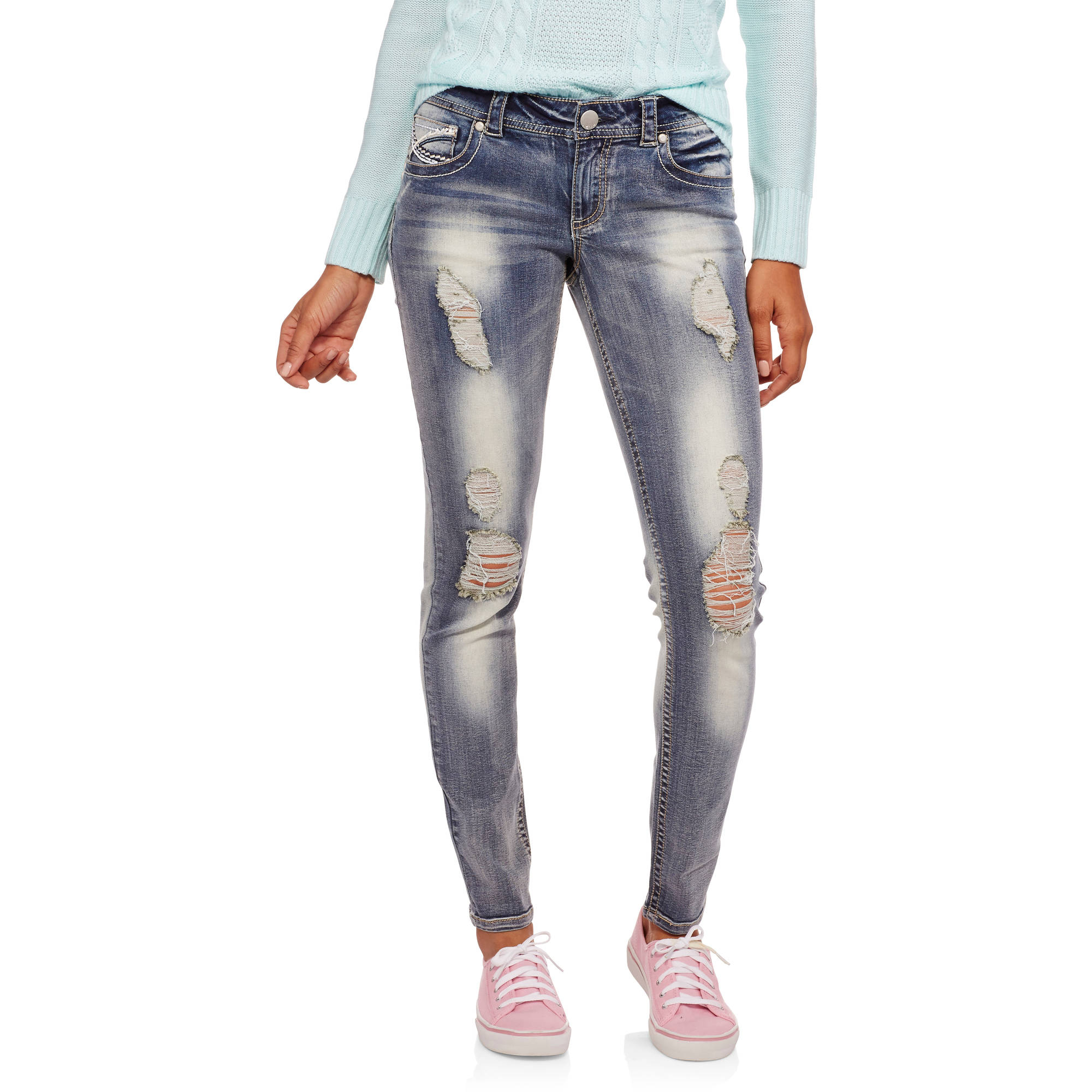 No Boundaries Juniors' Thick Stitch Skinny Jeans with Backflap Pockets