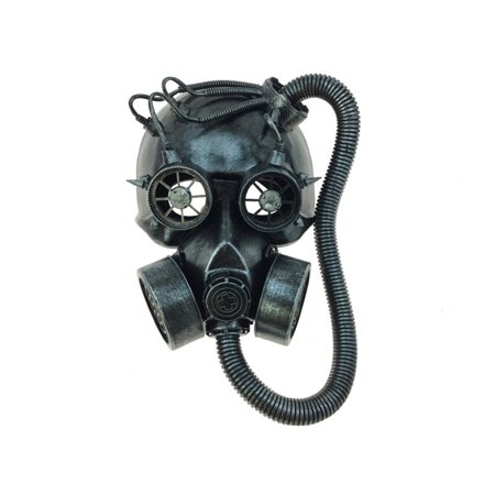 KBW Steampunk Costume Big Tube Goggles Gas Face Mask, Silver, One-Size](Costume Gas Mask)