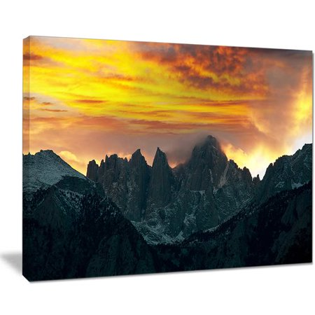 Design Art 'Whitney Mountains Under Cloudy Sky' Photographic Print on Wrapped -