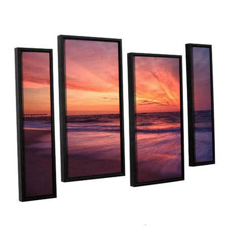 Artwall Outer Banks Sunset Ii By Dan Wilson 4 Piece Framed Photographic Print On Canvas Set