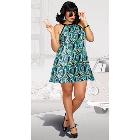 Dreamgirl Women's Plus-Size The Beat Goes On 60's Themed Pleated Costume - Dress Up Themes Ideas