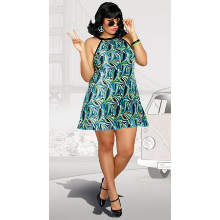 Dreamgirl Women's Plus-Size The Beat Goes On 60's Themed Pleated Costume Dress