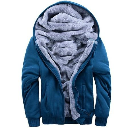 Men's Pullover Winter Jackets Hooed Fleece Hoodies Sweatshirt Wool Warm