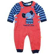 Duck Goose Baby Boys' Elephant Tons Of Love Overall Pant with Long Sleeve Tee