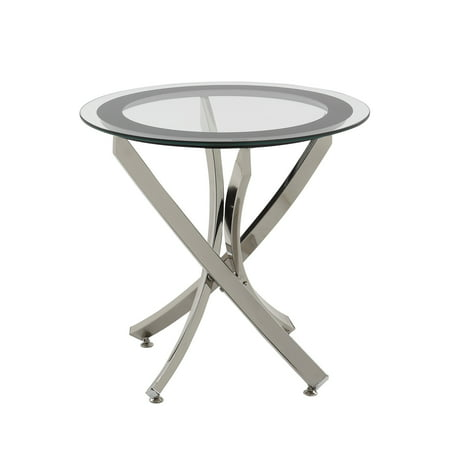 - Coaster Home Furnishings Modern Contemporary Round Clear Tempered Glass End Table - Chrome