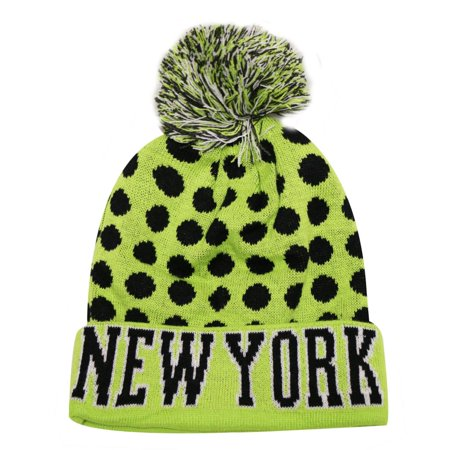 36b2e936b916a City Hunter Sk1150 New York Dots Knit Beanie Hats (Neon Lime black) -  Walmart.com