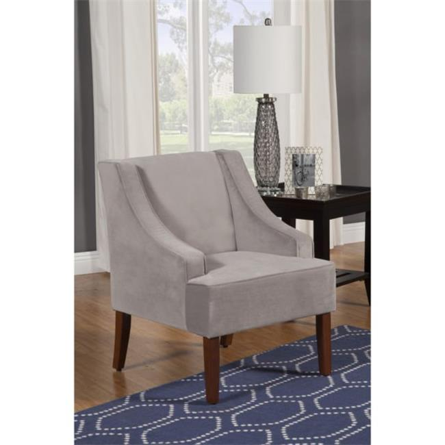 Kinfine USA K6499-B214 Swoop Arm Velvet Accent Chair Dove Grey by Kinfine USA Inc