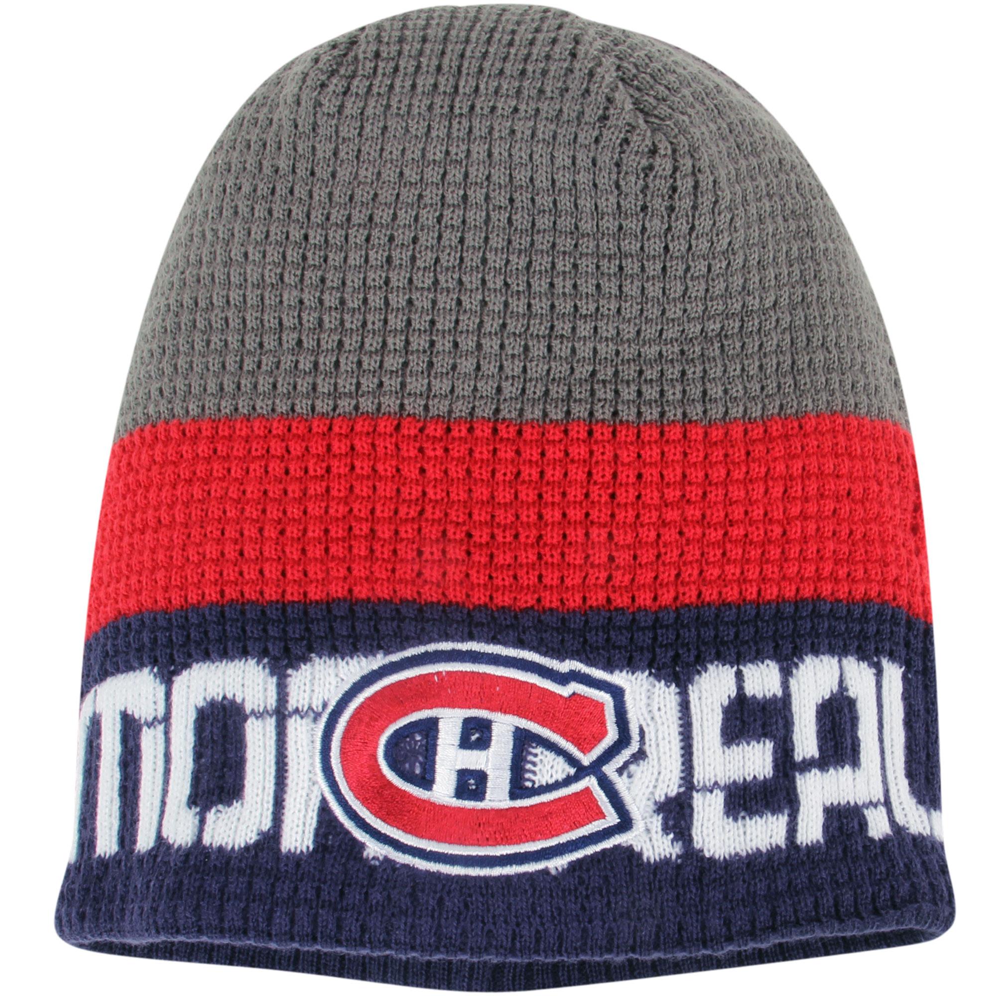 Montreal Canadiens Reebok Center Ice Uncuffed Knit Beanie - Gray/Navy - OSFA