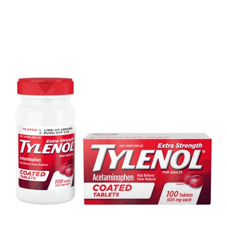 Extra Strength Coated Tablets - (2 pack) Tylenol Extra Strength Coated Tablets with Acetaminophen 500mg, 100 ct
