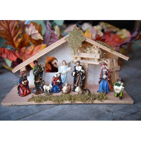 Christmas Nativity Scene Set Figures Polyresin Figurines Baby Jesus 12 PIECE SET Wooden Manger Nacimiento Navidad