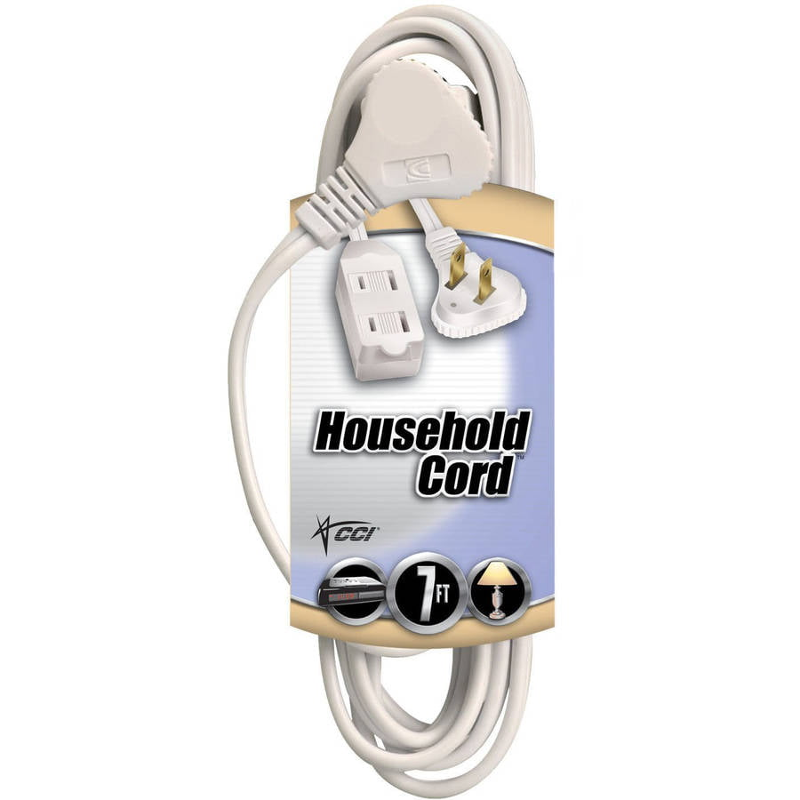 Coleman Cable Flatplug Extension Cord 2-Prong with Glowing Plug, 7-Foot, White by Overstock
