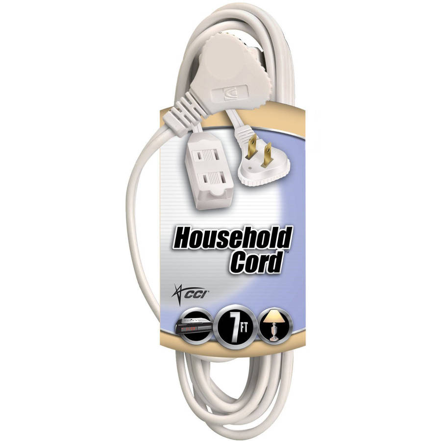 Coleman Cable Flatplug Extension Cord 2-Prong with Glowing Plug, 7-Foot, White