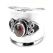 Sterling Silver Garnet Lady Knight Armor Ring