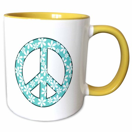3dRose Turquoise and White Daisy Peace Sign - Two Tone Yellow Mug, 11-ounce