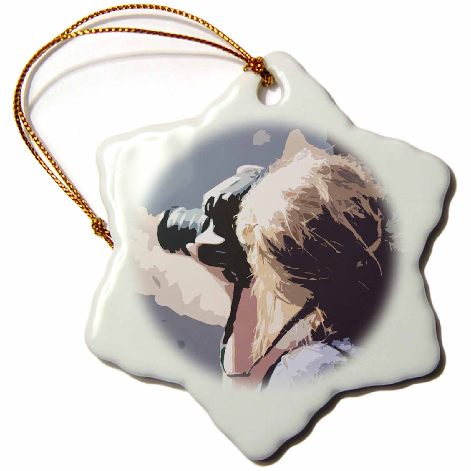 3dRose A girl with her Canon Camera shooting a picture in a cut out , Snowflake Ornament, Porcelain, 3-inch