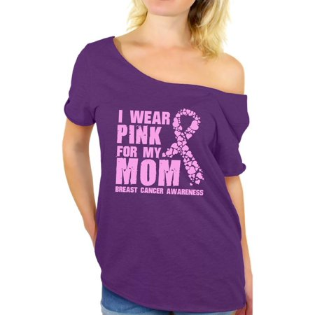 Awkward Styles I Wear Pink For My Mom Off Shoulder Shirt Breast Cancer Ladies Shirt Cancer Gifts Best Mom Off Shoulder Shirt Women's Pink Ribbon Baggy Shirt Breast Cancer Awareness