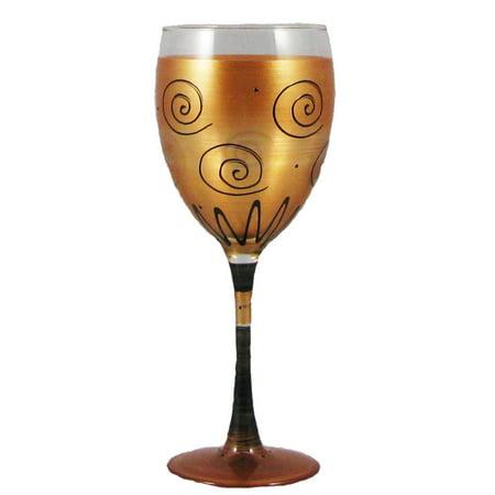 Set of 2 Gold & Black Swirls & Dots Hand Painted Wine Drinking Glasses 7.75