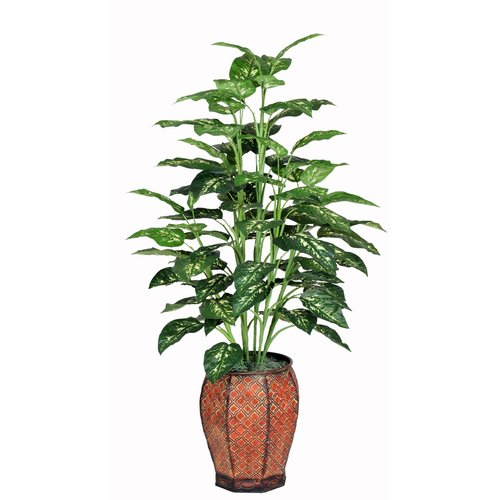 House of Silk Flowers Inc. Artificial Marble Dieffenbachia Floor Plant in Planter
