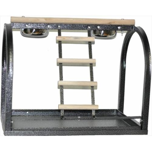 Image of A Cages 21x14x18 Bird Table Stand with Ladders and Cups Black