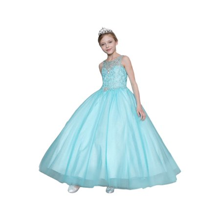 Little Girls Aqua Jeweled Bodice Embroidered Flower Girl Dress