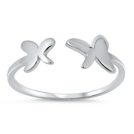 Rhodium Plated Sterling Silver Twin Butterflies Adjustable Ring