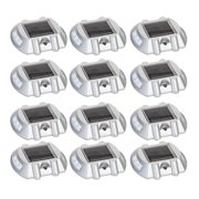 12 Pack White Solar Powered LED Road Stud Driveway Pathway Stair Deck Dock Light