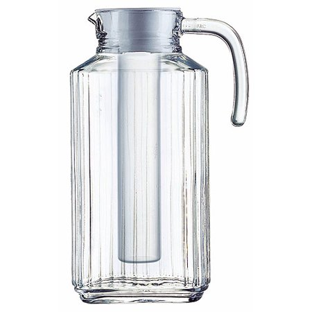 Luminarc 57.5 Ounce Clear Quadro Jug with White Lid & Infuser Tube - Glass Water Jug