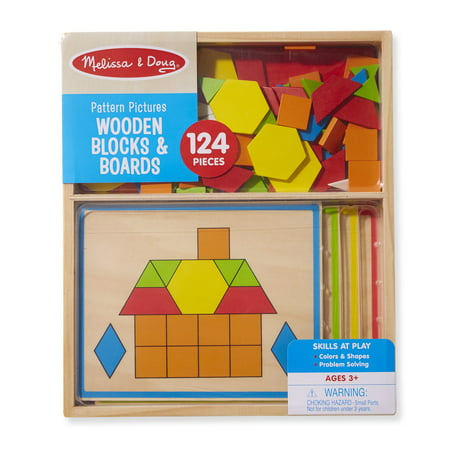 Melissa & Doug Pattern Pictures Wooden Blocks & Boards Shape Matching Activity (124 - Pattern Blocks