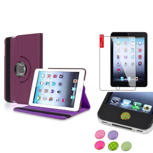 iPad Mini 3/2/1 Case, by Insten Purple 360 Leather Case Cover+Protector/Sticker for iPad Mini 3 2 1