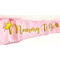 Pink Princess Royal Baby Shower Mommy to Be Gold Crown Sash Party Favor