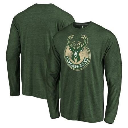 Milwaukee Bucks Fanatics Branded Distressed Logo 2 Tri-Blend Long Sleeve T-Shirt - Hunter Green
