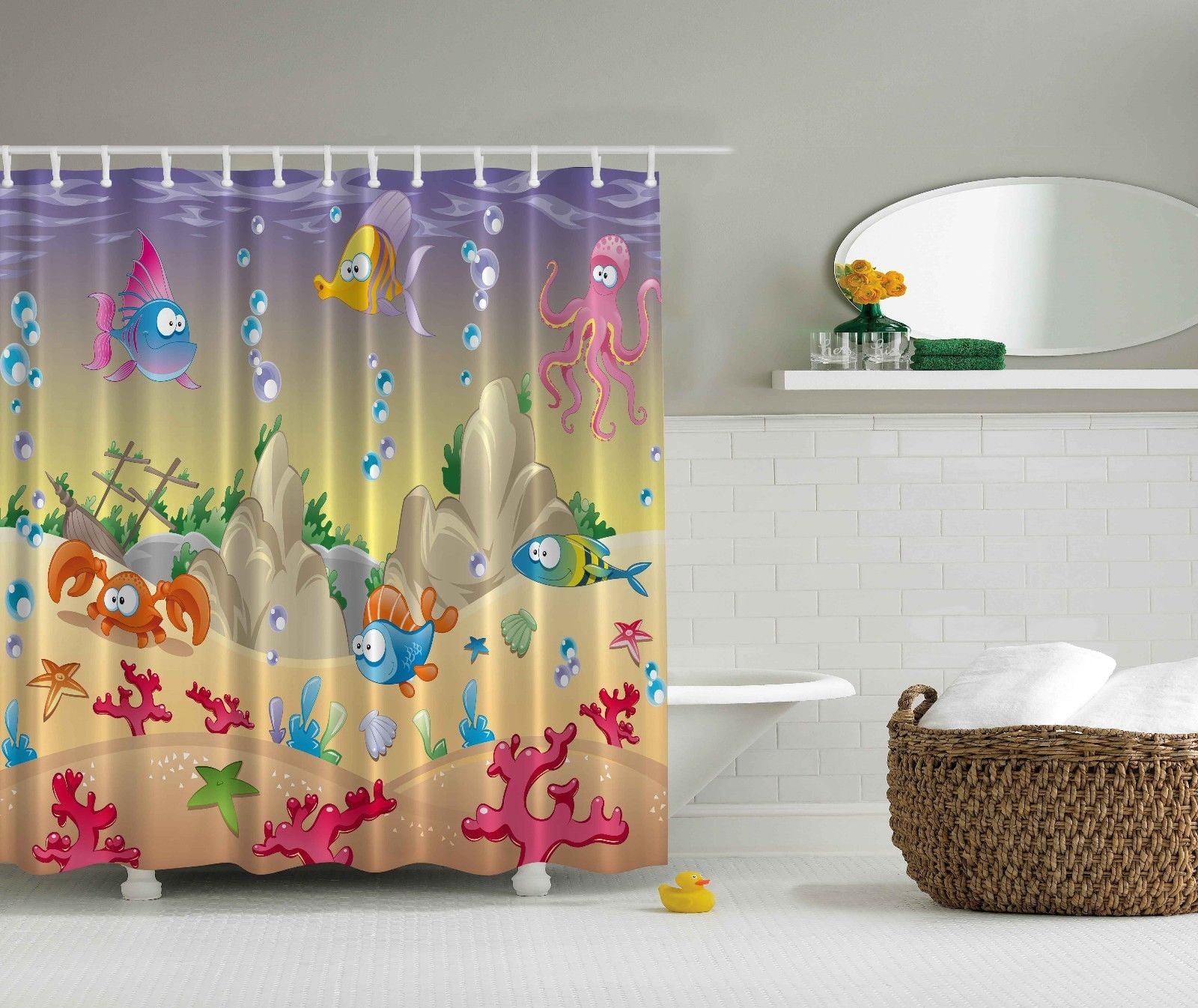 Cartoon Sea Animals Octopus Shells Nautical Kids Babies Nursery Shower Curtain Walmart Com