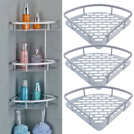 3 Tier Shower Shelf Aluminum Bathroom Shower Corner Shelf Triangle Wall Shelves Storage Organizer For Towels Soap Shampoo Lotion Accessories