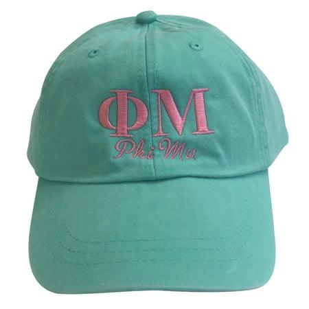 Phi Mu Script Design Sea Foam Baseball Hat with Coral - Mu Hat