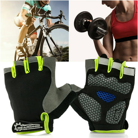GEARONIC TM Cycling half Finger Mountain Bicycle Men Women Gel Pad Anti-slip Breathable Outdoor Sports Shock-absorbing Riding Biking Cycle Gloves - Green L