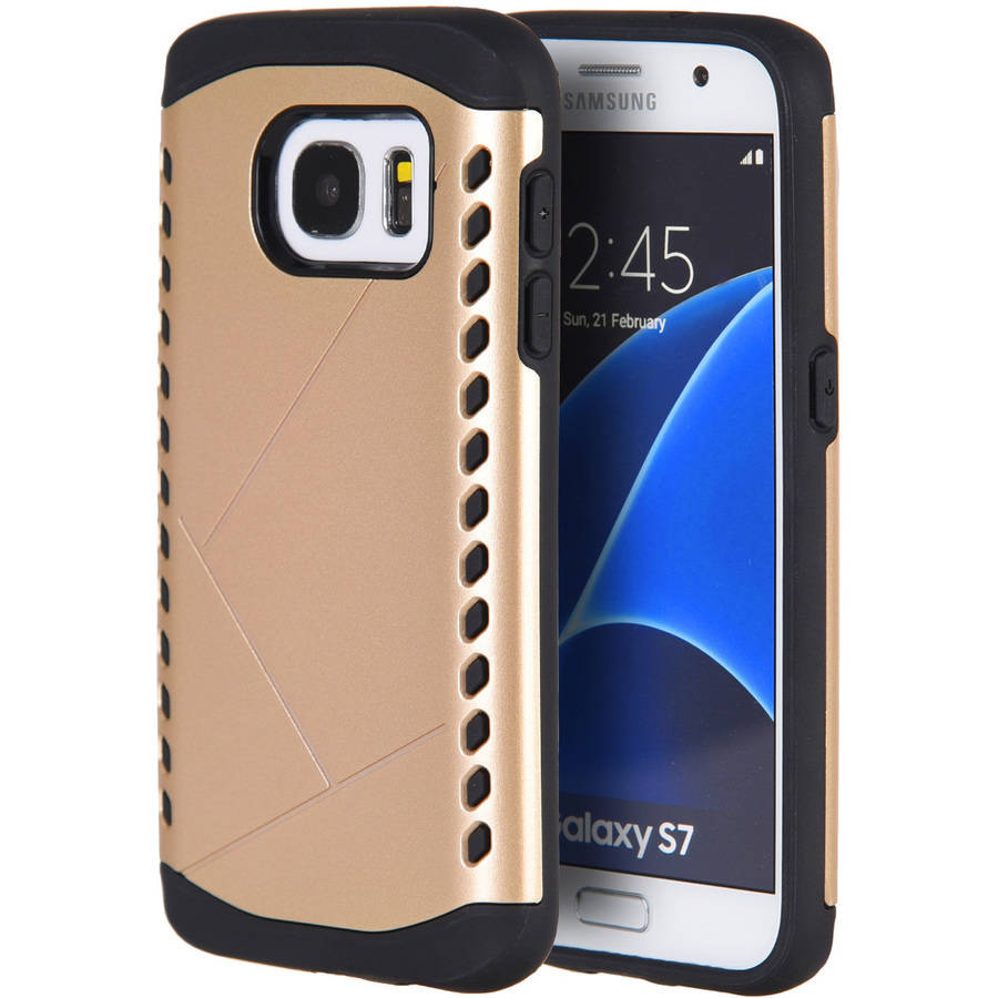 Samsung Galaxy S7 Shocker Hybrid Case Champagne Gold PC Plus Black TPU