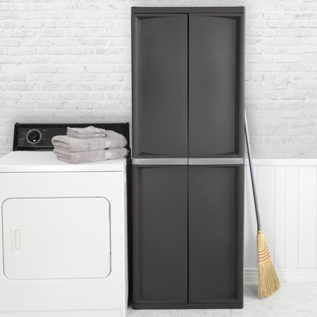 Double Door Utility Cabinet - Sterilite, 4 Shelf Cabinet, Flat Gray