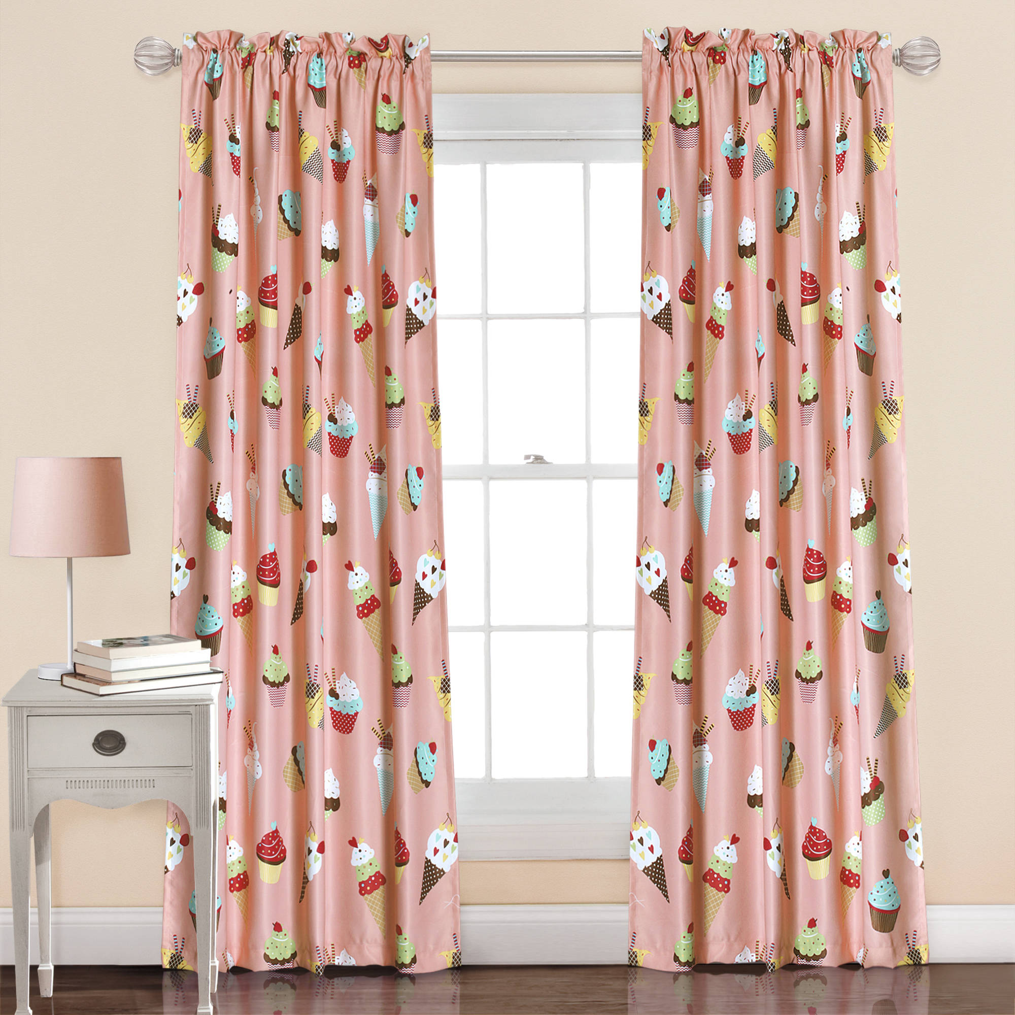 Cupcake Ice Cream Window Curtain Set, Pink
