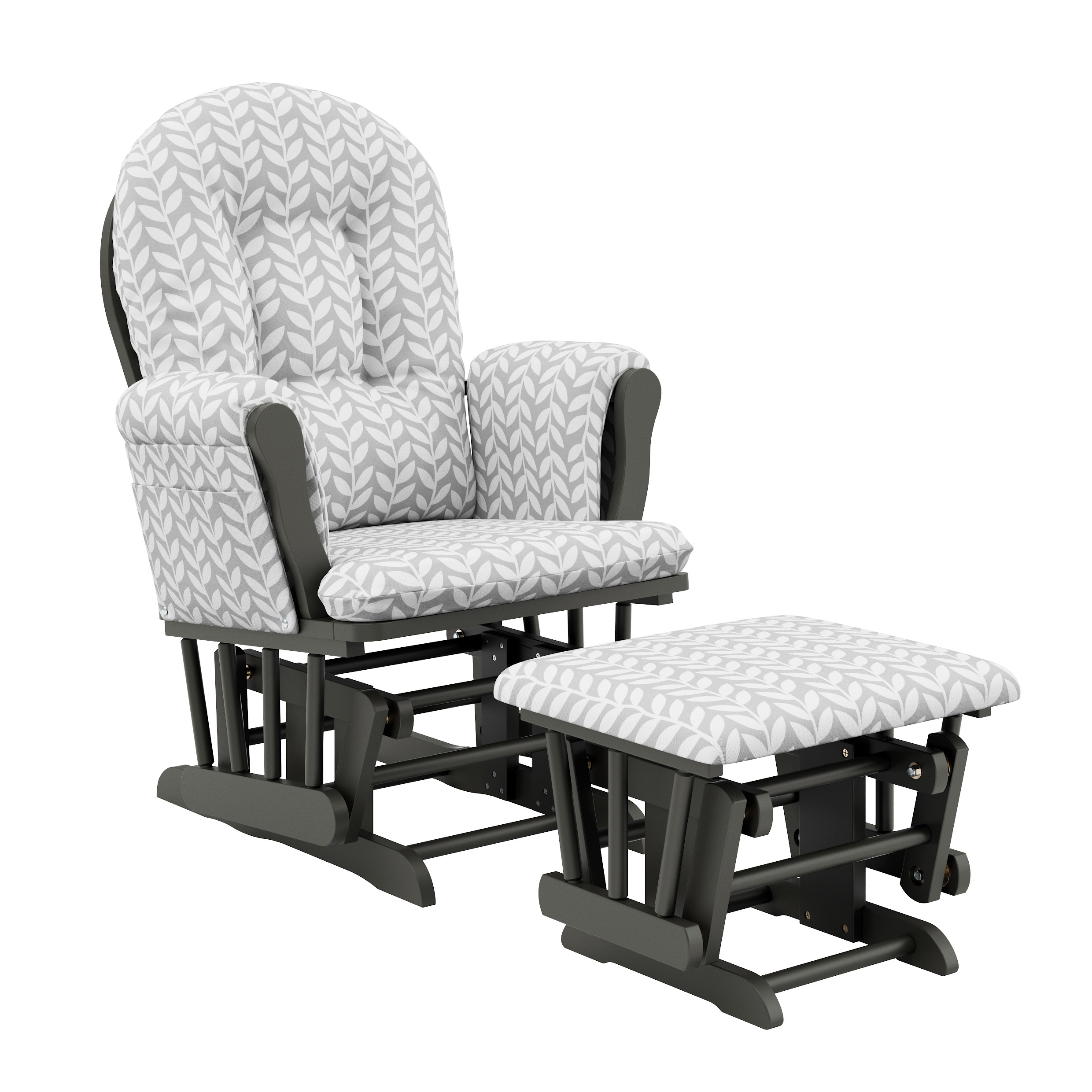 Storkcraft Vine Hoop Glider and Ottoman Gray with Light Gray