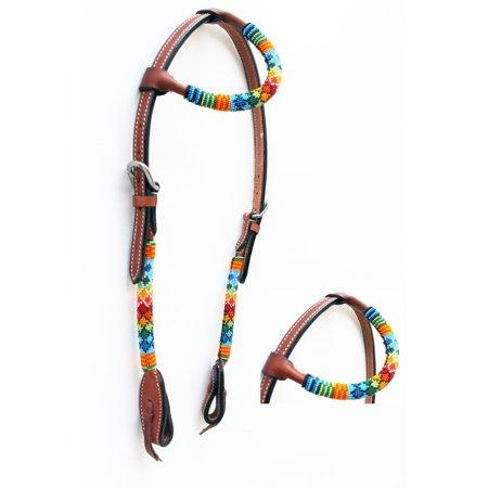 (Horse Show Bridle Western Leather Headstall Beaded Overlay One Ear 79RT04HA)