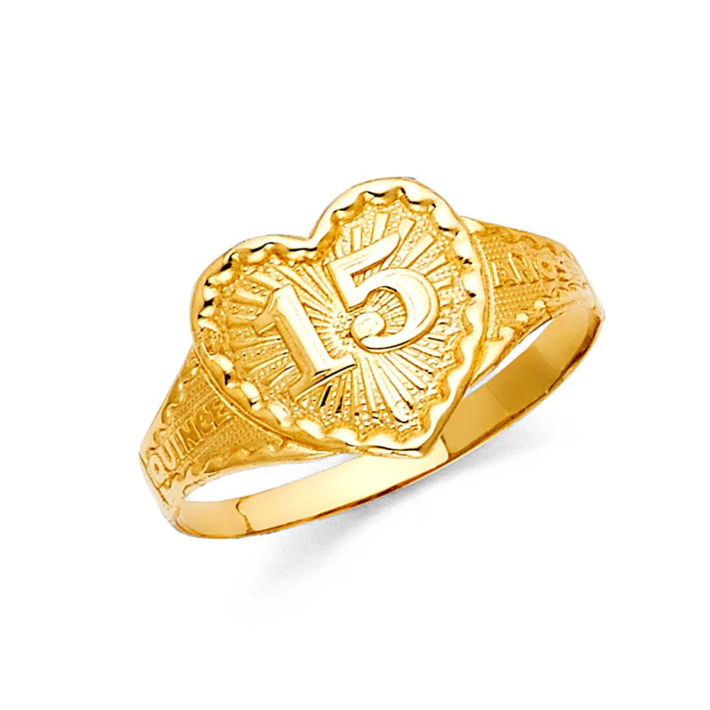 5 Jewel Tie Solid 14k Yellow Gold 15 Years Birthday Heart Quince Anos Ring Size